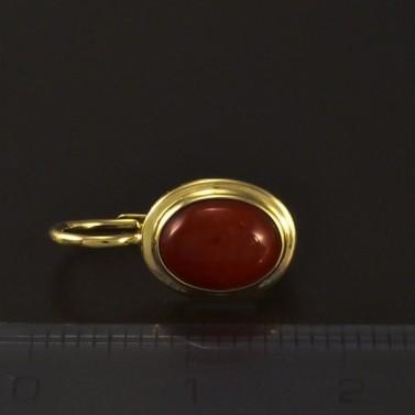 Zlaté náušnice oválný korál 4593 č.3
