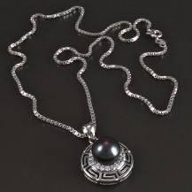 Stříbrný náhrdelník s perlovým přívěskem 5452