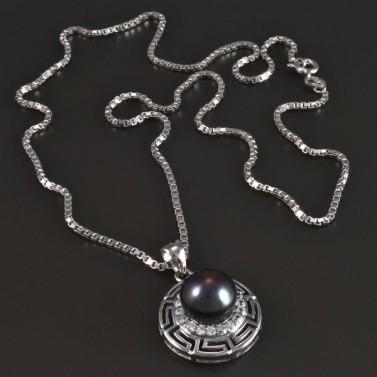 Stříbrný náhrdelník s perlovým přívěskem 5452 č.1
