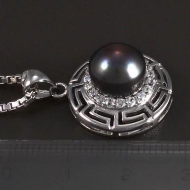 Stříbrný náhrdelník s perlovým přívěskem 5452 č.2