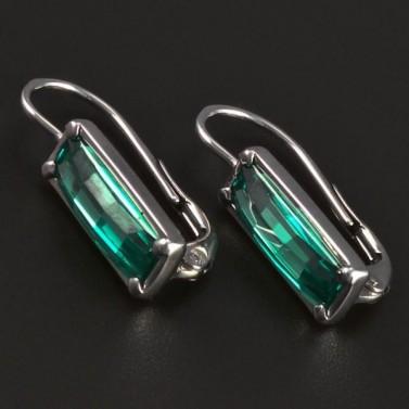 Náušnice stříbro obdélníkový smaragd 5536 č.1