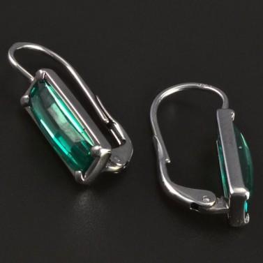 Náušnice stříbro obdélníkový smaragd 5536 č.2