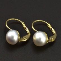 Zlaté náušnice s bílou perlou 6291