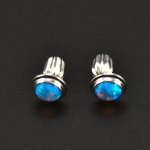 Stříbrné náušnice opály modré 6296