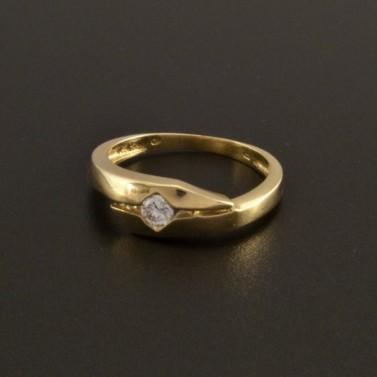 Jednoduchý zlatý žlutý prsten se zirkonem 1 č.1