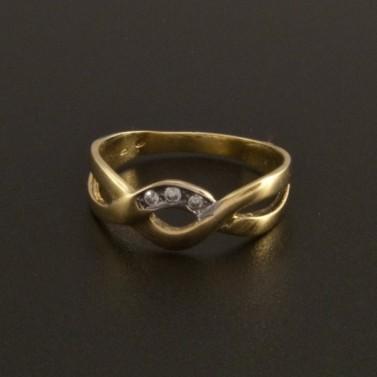 Zlatý nápaditý prsten se zirkony 15 č.1