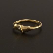 Jemný drobný zlatý prstýnek se zirkonem 28