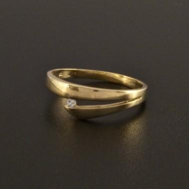 Jemný prsten zlatý se zirkonem 43 č.1