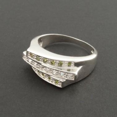 Masivní stříbrný prsten s olivíny 293 č.1