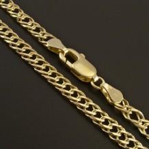 Elegantní zlatý řetízek dvojpancr 343
