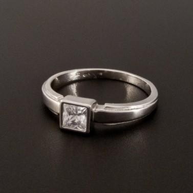 Bílý zlatý prsten s čtvercovým zirkonem 362 č.1