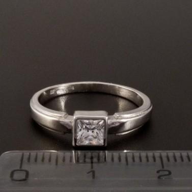 Bílý zlatý prsten s čtvercovým zirkonem 362 č.2