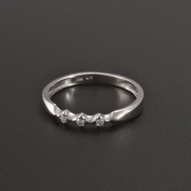 Jemný prsten bílé zlato drobné zirkony 366 č.1