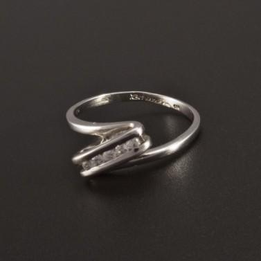 Jemný zdobený prsten z bílého zlata 374 č.1