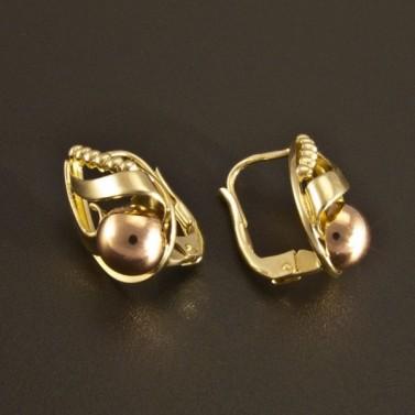 Zlaté náušnice dvoubarevné polokoule 529 č.2
