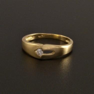 Zlatý prsten se zirkonem lesklý a matný 806 č.1