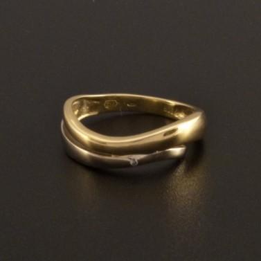 Zlatý žlutý a bílý prsten se zirkonem 809 č.1