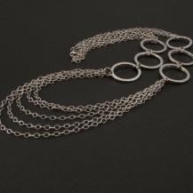 Řetízkový stříbrný náhrdelník rhodiovaný 907