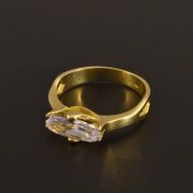 Zásnubní prsten zlatý zirkon oválný brus 923