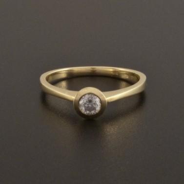 Zásnubní prsten zlatý s bílým zirkonem 925 č.2