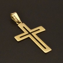 Decentní přívěsek zlatý kříž 983