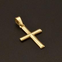 Lesklý zlatý křížek přívěsek 987