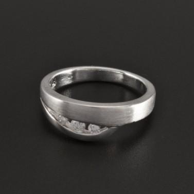 Stříbrný lesklý a matný prsten se zirkony 1034 č.1