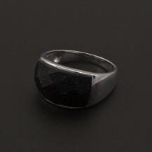 Stříbrný prsten temně fialový kámen 1083