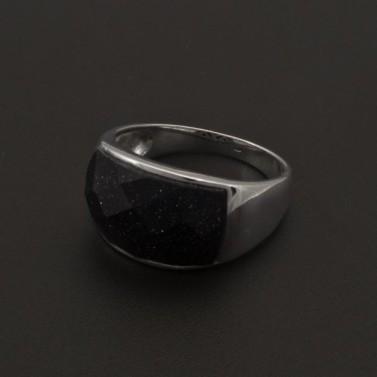 Stříbrný prsten temně fialový kámen 1083 č.1