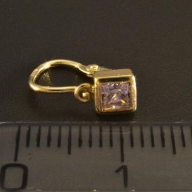 Zlaté dětské náušnice čtvereček 1142 č.3