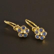Zlaté dětské náušnice květy modré 1151