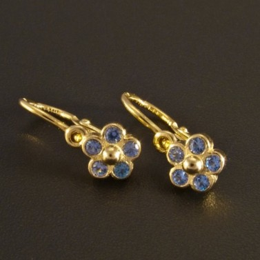 Zlaté dětské náušnice květy modré 1151 č.1