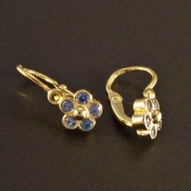 Zlaté dětské náušnice květy modré 1151 č.2