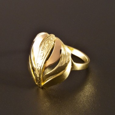 Zlatý prsten kombinace červené a žluté 1412 č.1
