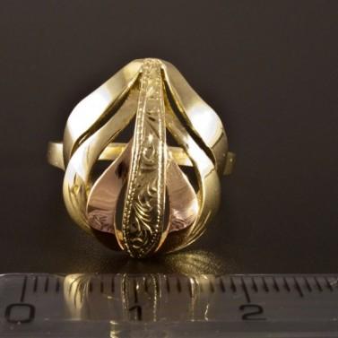 Zlatý prsten kombinace červené a žluté 1412 č.2
