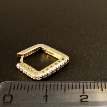 Zlaté čtvercové náušnice se zirkony 1607 č.3