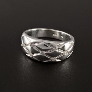 Stříbrný prsten prořezávaný se zirkony 2303 č.1