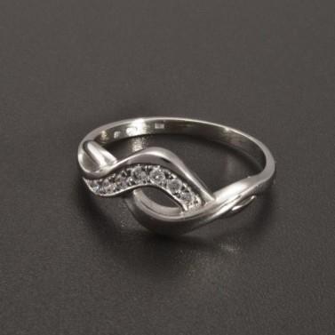 Lesklý bílý prsten se zirkony 2338 č.1