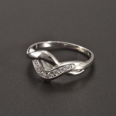 Lesklý bílý prsten se zirkony 2338 č.2