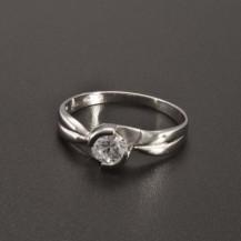 Zásnubní prsten z lesklého bílého zlata 2346