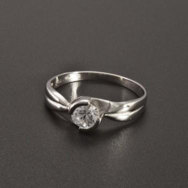 Zásnubní prsten z lesklého bílého zlata 2346 č.1