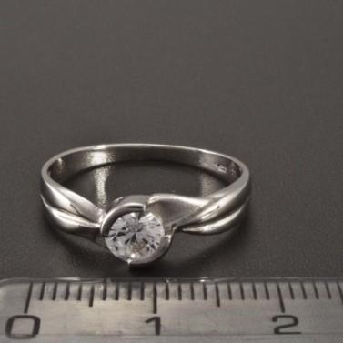 Zásnubní prsten z lesklého bílého zlata 2346 č.2