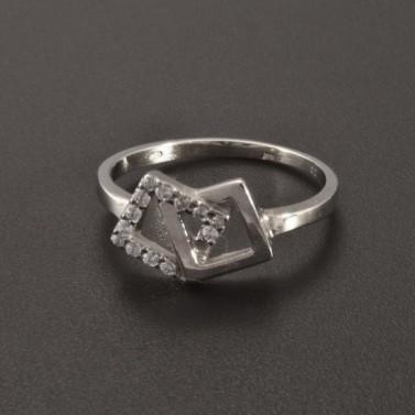 Prsten z bílého zlata ozdoba čtvereček 2352 č.1