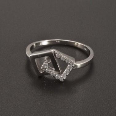 Prsten z bílého zlata ozdoba čtvereček 2352 č.2