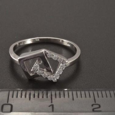 Prsten z bílého zlata ozdoba čtvereček 2352 č.3