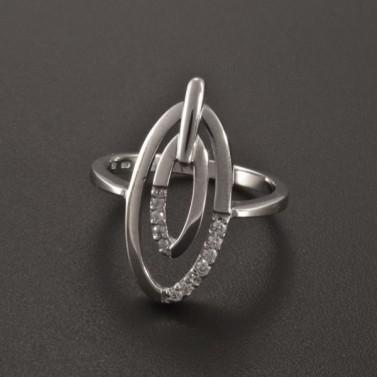 Prsten bílé zlato oválná ozdoba 2354 č.1