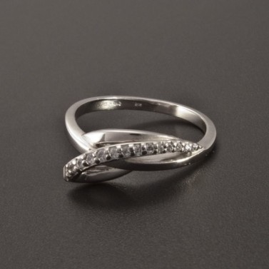 Originální prsten bílé zlato drobné zirkony 2355 č.1