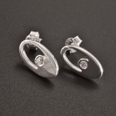 Stříbrné náušnice zirkon oválný tvar 2492 č.1