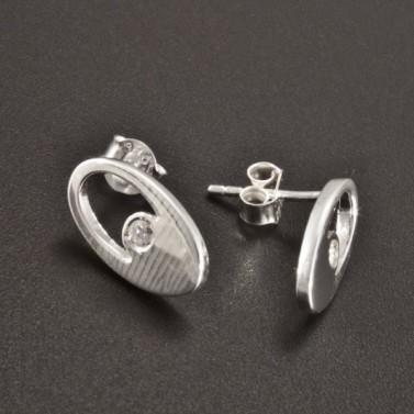 Stříbrné náušnice zirkon oválný tvar 2492 č.2