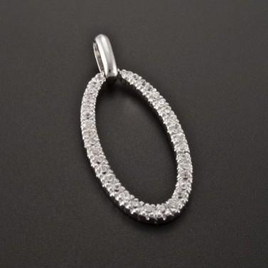 Oválný stříbrný přívěsek se zirkony 2498 č.1